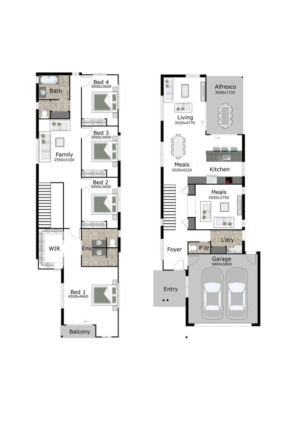 The Aria is a small lot and narrow block home design by GW Homes ...