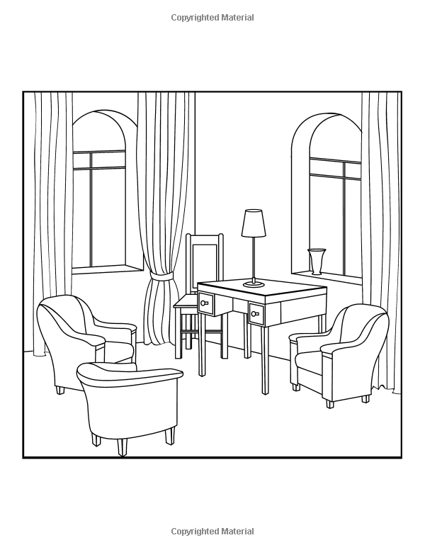 Amazon Interior Design Coloring Book A Stress Management For Adults