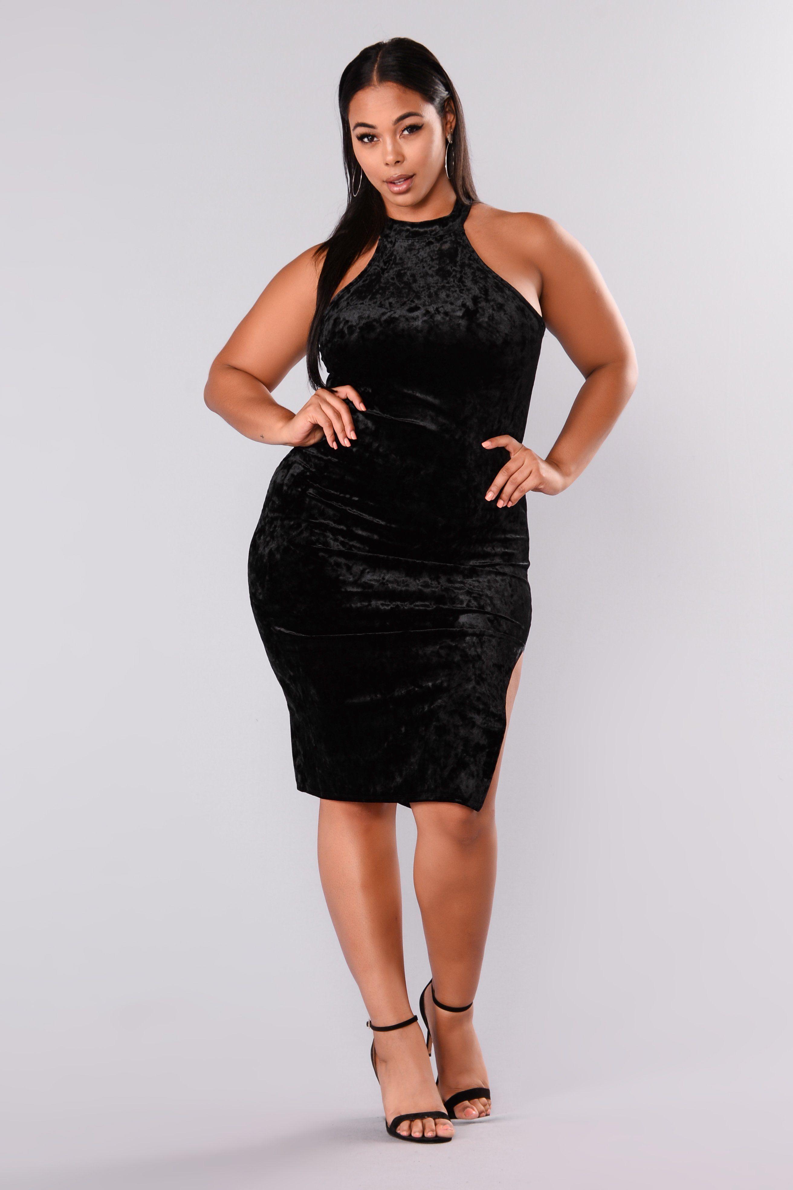 Perfect Surprise Velvet Dress - Black