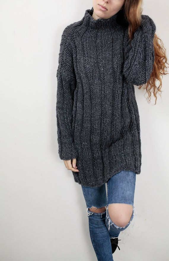 9018a292773 Hand knit oversize sweater wool woman sweater long sweater Charcoal ...