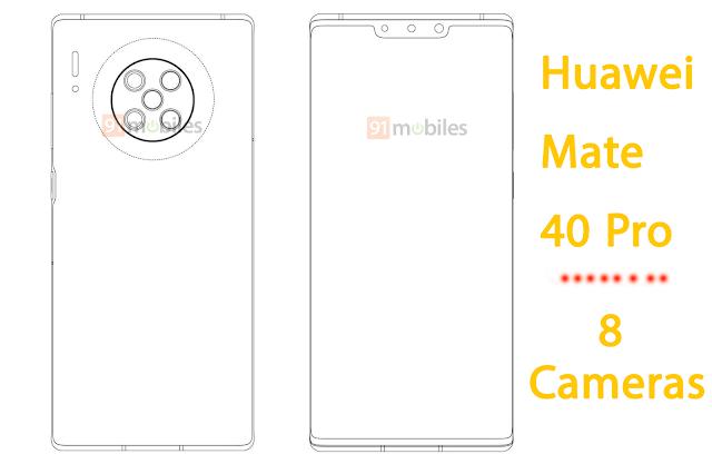 براءة إختراع من هواوي Mate 40 Pro سيأتي ب8 كاميرات Huawei Huawei Mate Camera
