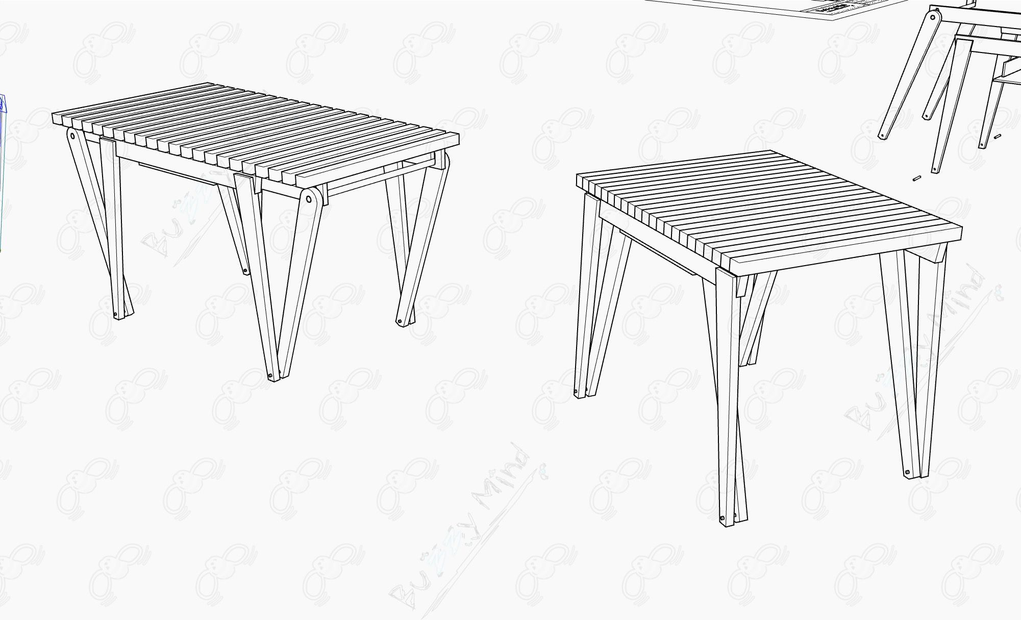 Expansible Table Furniture design  + Product design Sketch + Prototype 001