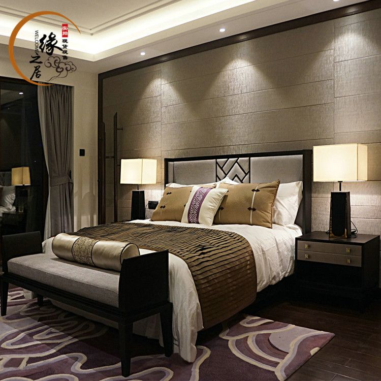 The New Chinese Modern Minimalist Set Of Classical Ash Wood Bed