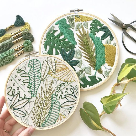 Welcome to the Jungle Embroidery Pattern. Jungle Leaves Design. Botanical Art. Instant Download PDF. DIY Home Decor. Beginner Embroidery -   17 planting Pattern embroidery ideas
