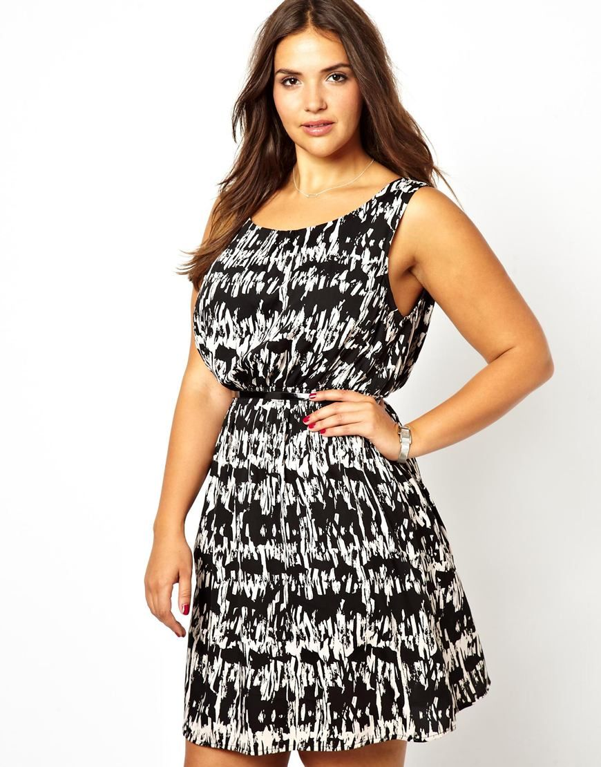 New look inspire abstract black and white print dress everyday
