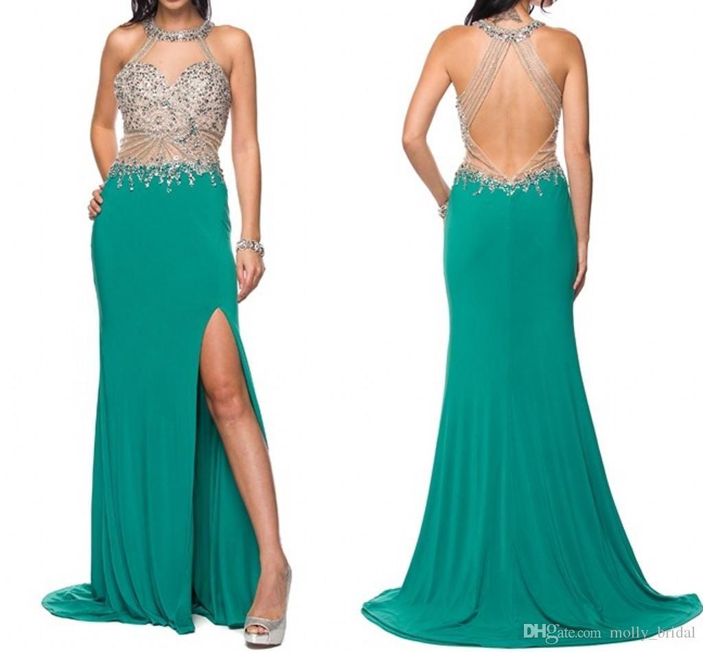 Luxury Split Evening Dresses 2017 New Arrival Hunter Green Crystal ...