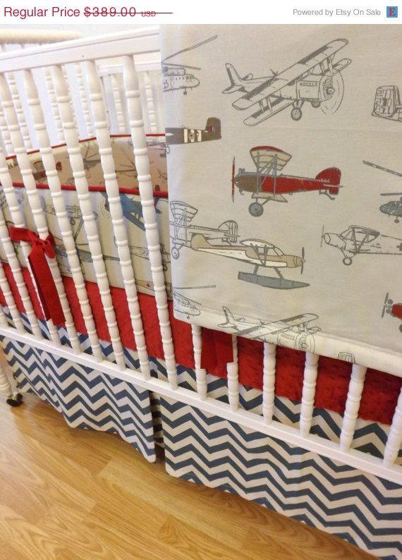 Back To School Baby Bedding Made Order 4 Pc Vintage Airplane Crib Set