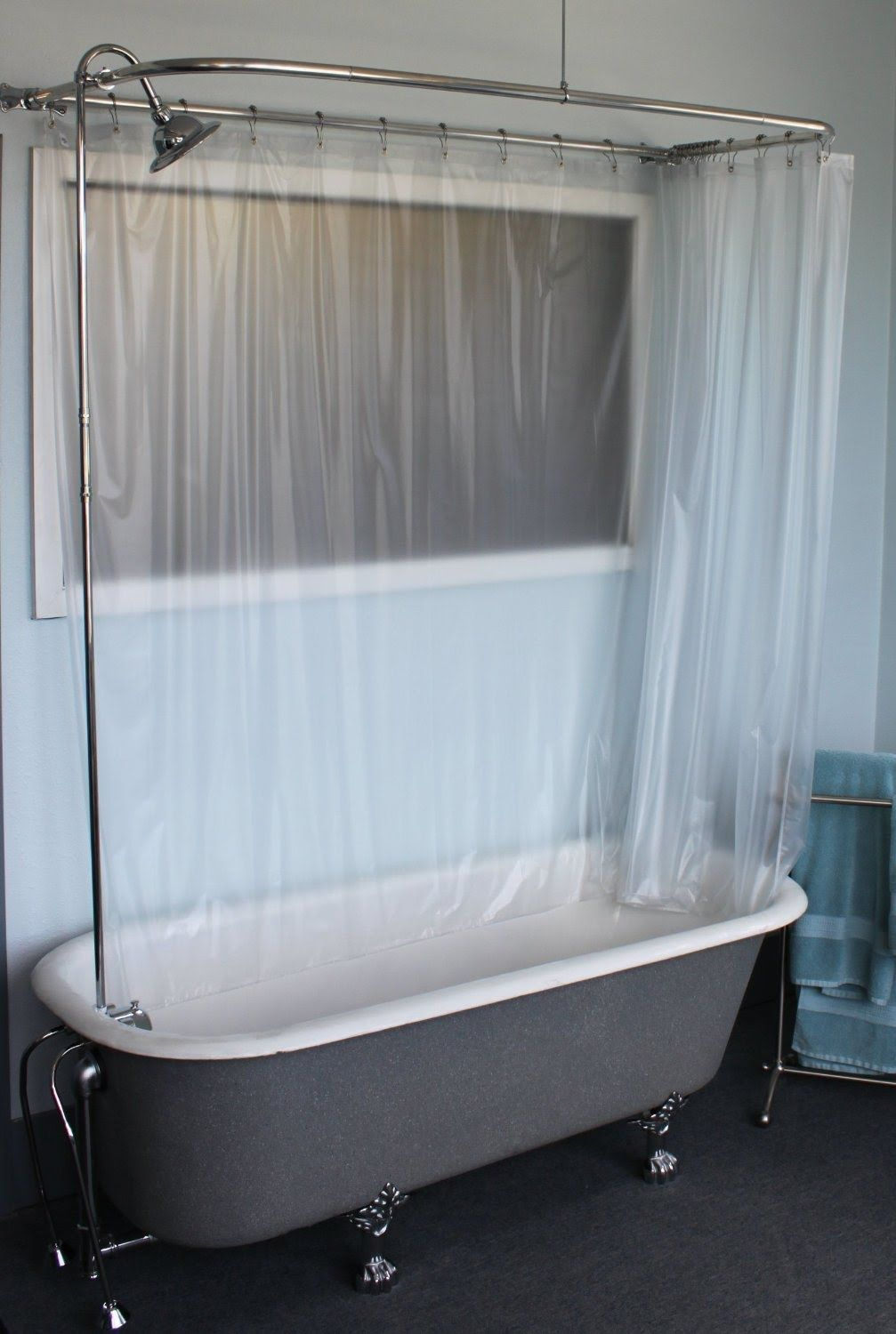 Claw Foot Tub Wall Mounted Shower Curtain Rod Add A Shower With in ...