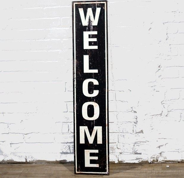 Large Rustic Welcome Sign Metal Welcome Sign Shabby Chic Wall Decor Welcome Sign
