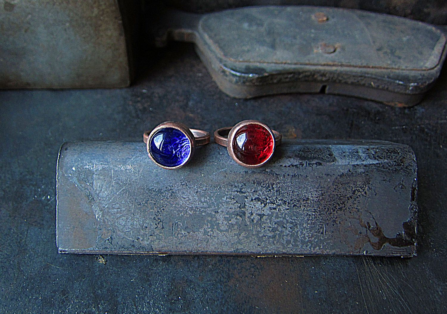 Copper and Glass Rings