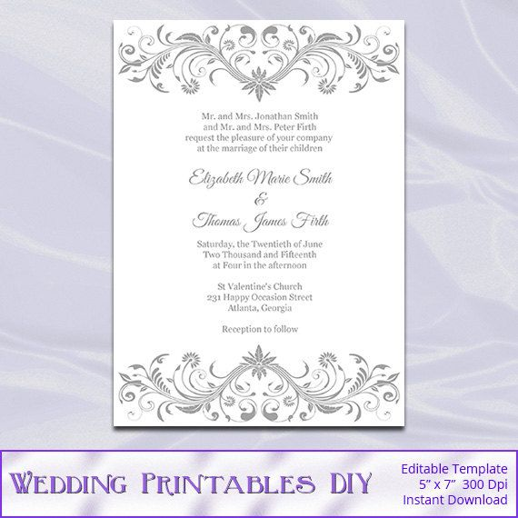 Gray Wedding Invitation Template - Diy Printable Silver Bridal - birthday invitation template word