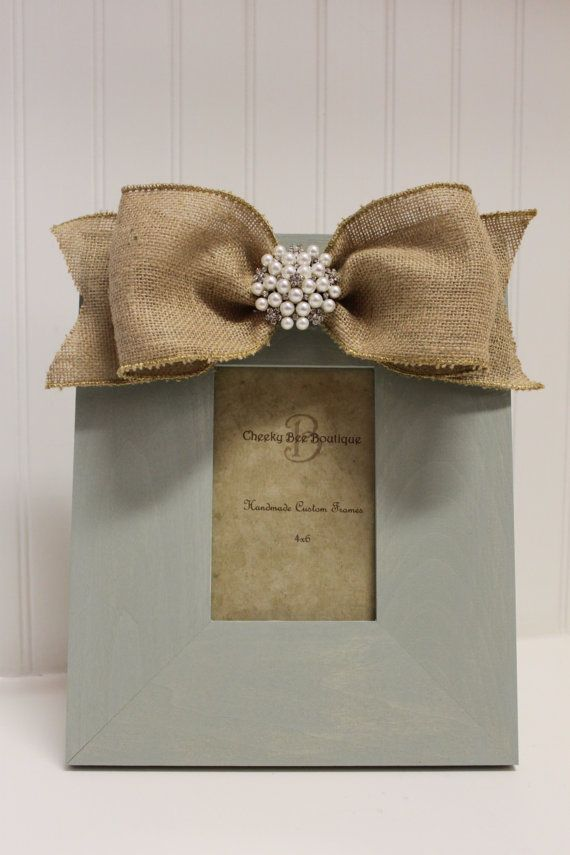 4 x 6  Blue Handpainted Frame with Burlap Bow via Etsy