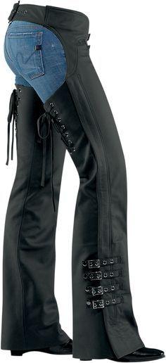 Womens Leather Full Chaps   Biker wear, Womens chaps, Chaps