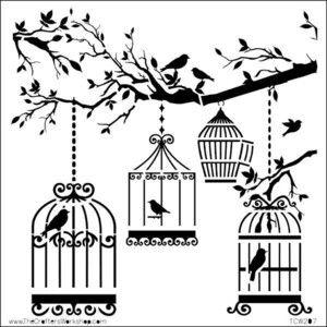 Oiseaux en cage imprimer cages oiseaux voli res mod les imprimables silhouette oiseau - Dessin oiseau en cage ...
