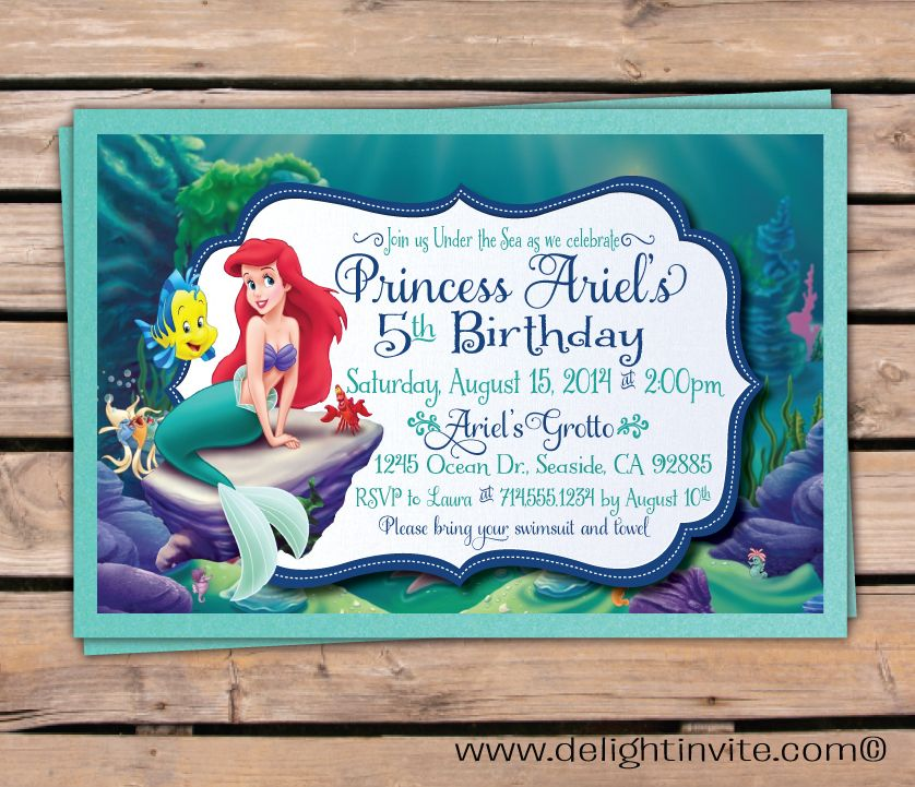 Little Mermaid Birthday Invitation Invites Pinterest Mermaid - Little mermaid birthday invitation template