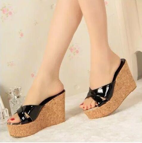 Yaz Sandalet Rugan Platformu Takozlar Yuksek Topuklu Terlik Burnu Acik Bir Platform Ayakkabi Bayan Topuklular Terlik Sandalet