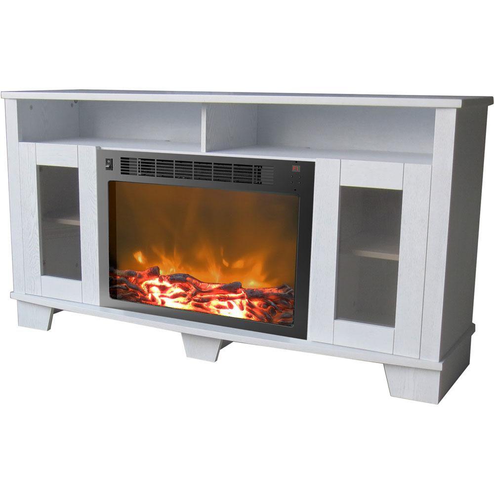 Cambridge Savona 59 In Electric Fireplace In White White