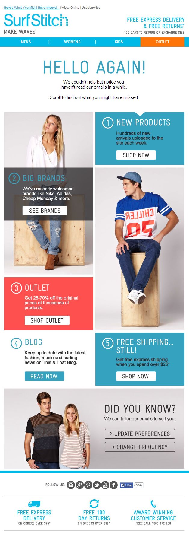 Great re-engagement email from SurfStitch | Re-engagement emails ...