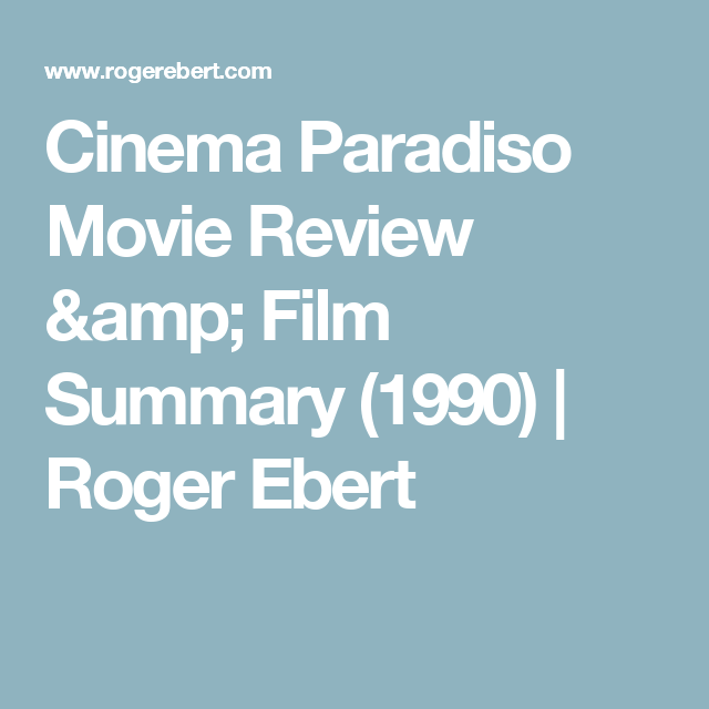 cinema paradiso movie summary
