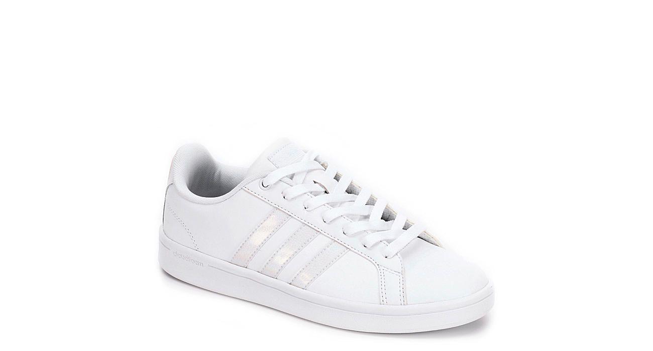 cd13a57946 White Adidas Womens Advantage Stripe Sneaker
