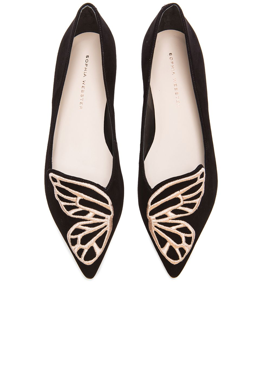 f4638ef9b15ddf Image 1 of Sophia Webster Bibi Butterfly Suede Flats in Black   Rose Gold