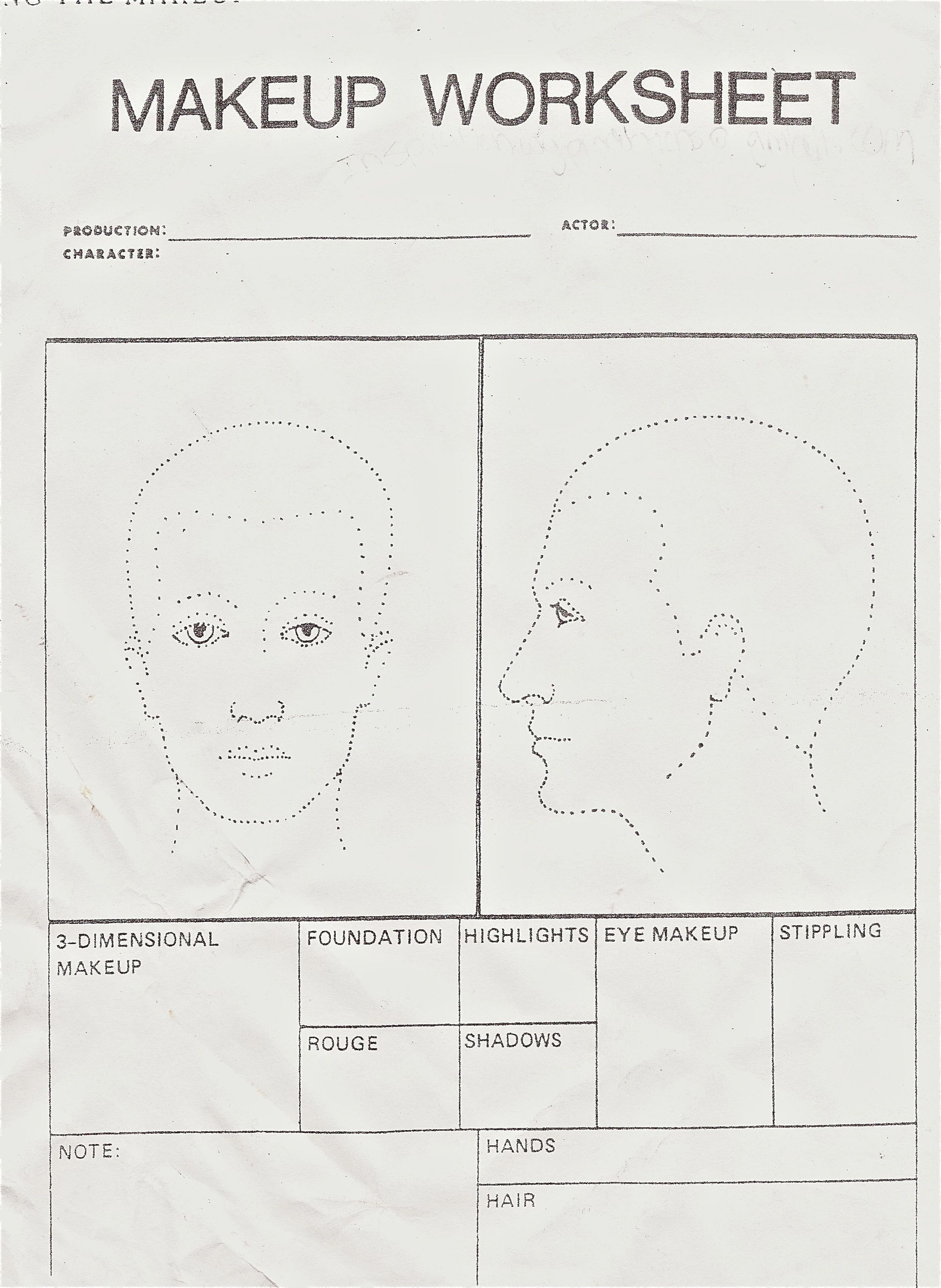 Makeup Worksheet