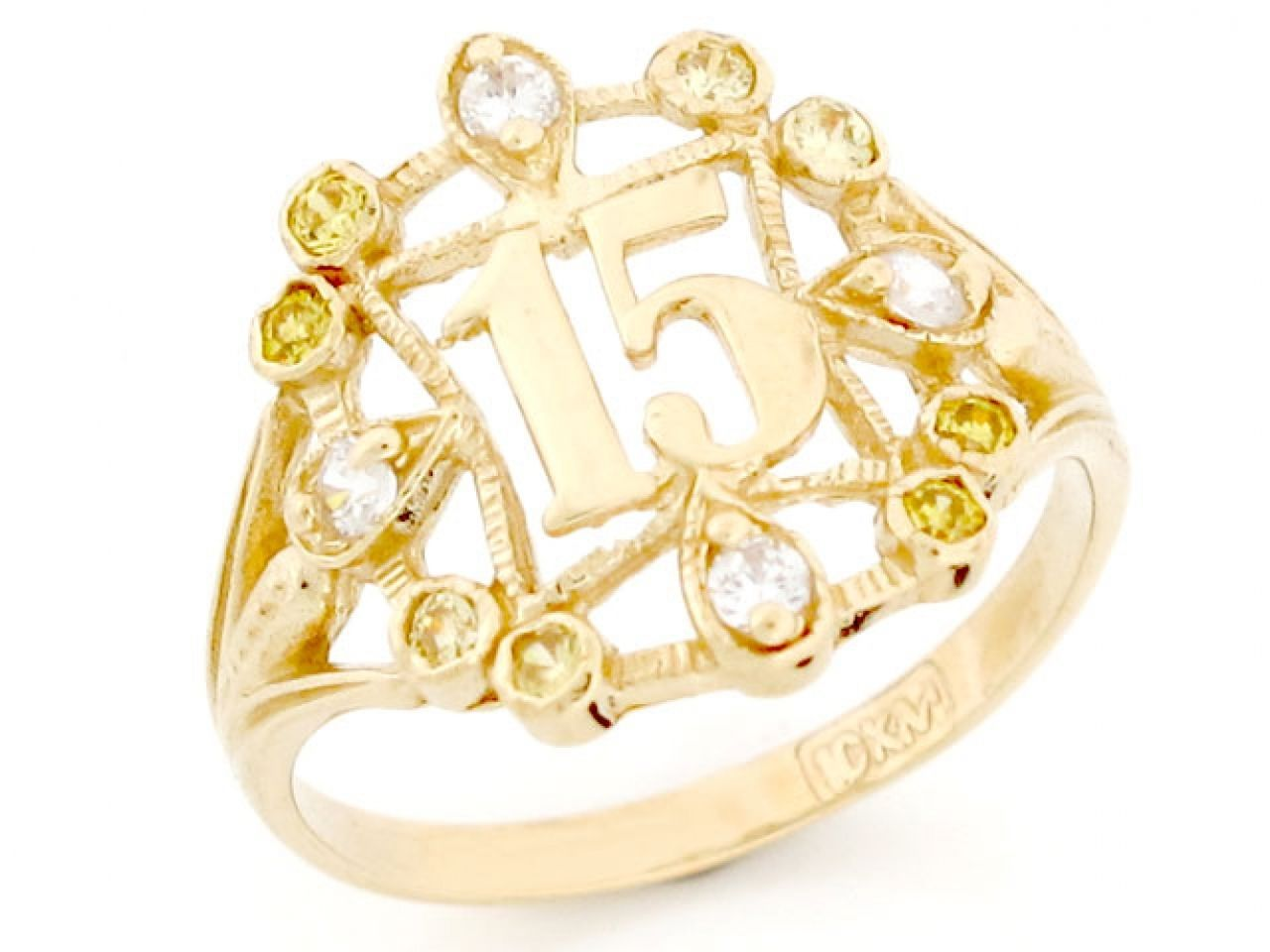 10k or 14k Gold 15 Birthday Anos CZ Quinceanera Ring Jewelry