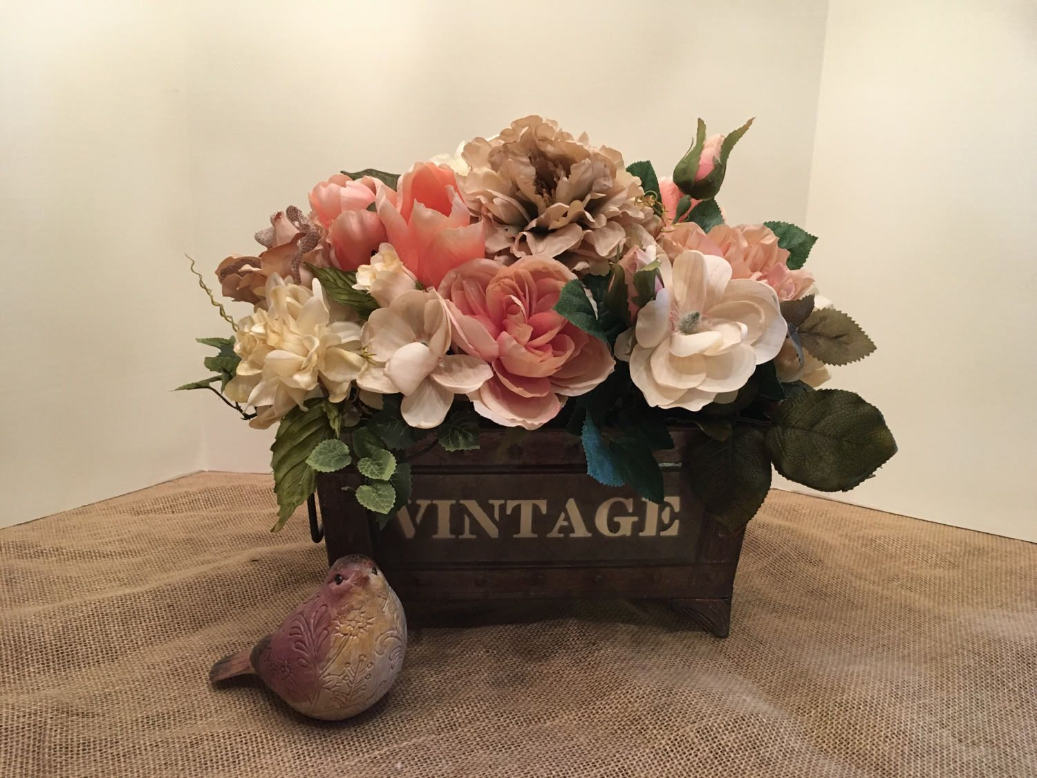 shabby chic floral arrangement in metal container that reads vintage rh pinterest co uk