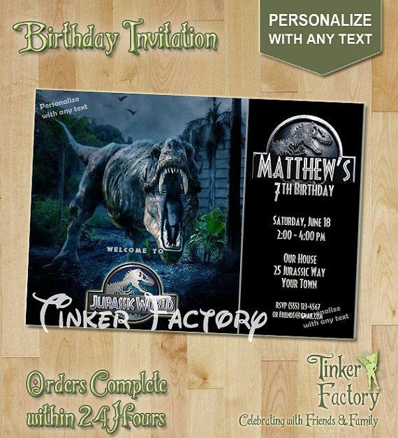 Jurassic World Birthday Party Invitation Digital File