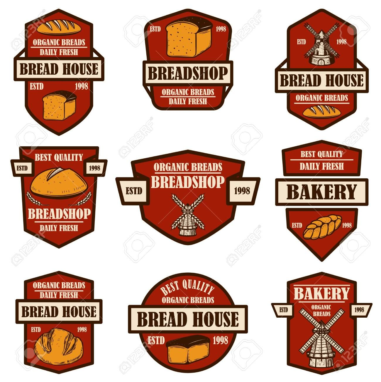 Set of bakery bread shop emblems Design element for logo label sign banner poster Vector illustration