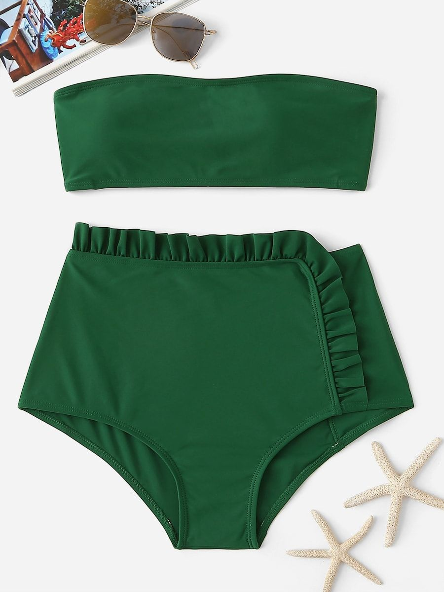d289b711a4 Bandeau With Frill Trim High Waist Bikini Set -SheIn(Sheinside) | My ...