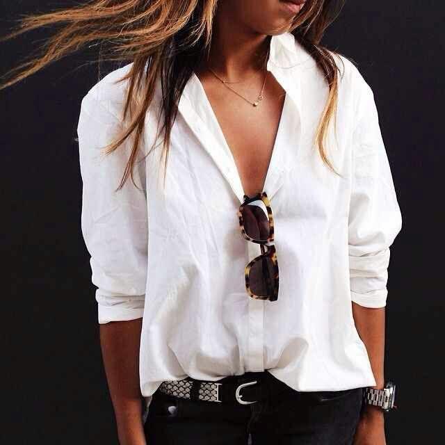 Camisa blanca básica y de más estilos
