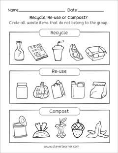 Free waste management activity for preschool and