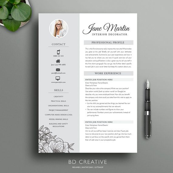 Boutique Resume Template  Creative Modern Professional  School