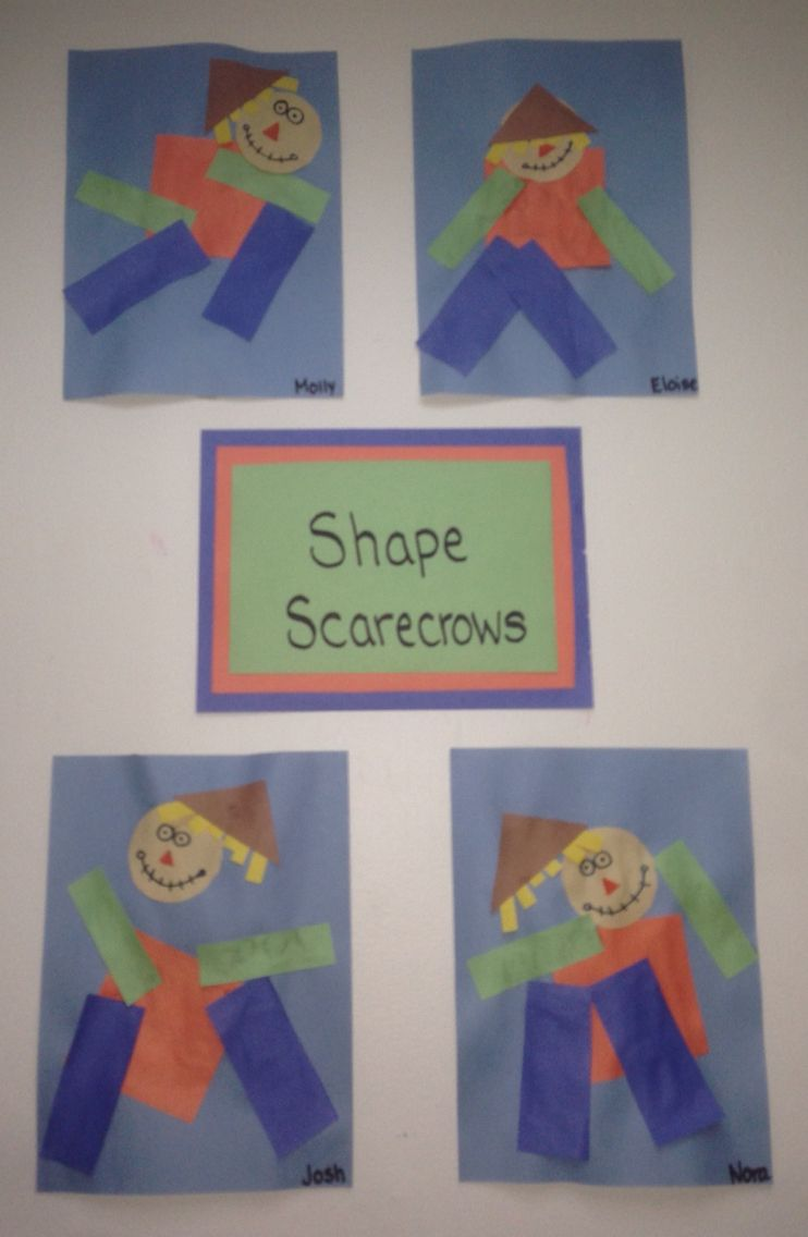 Shape scarecrow. Toddler children glued on pre-cut shapes to create ...
