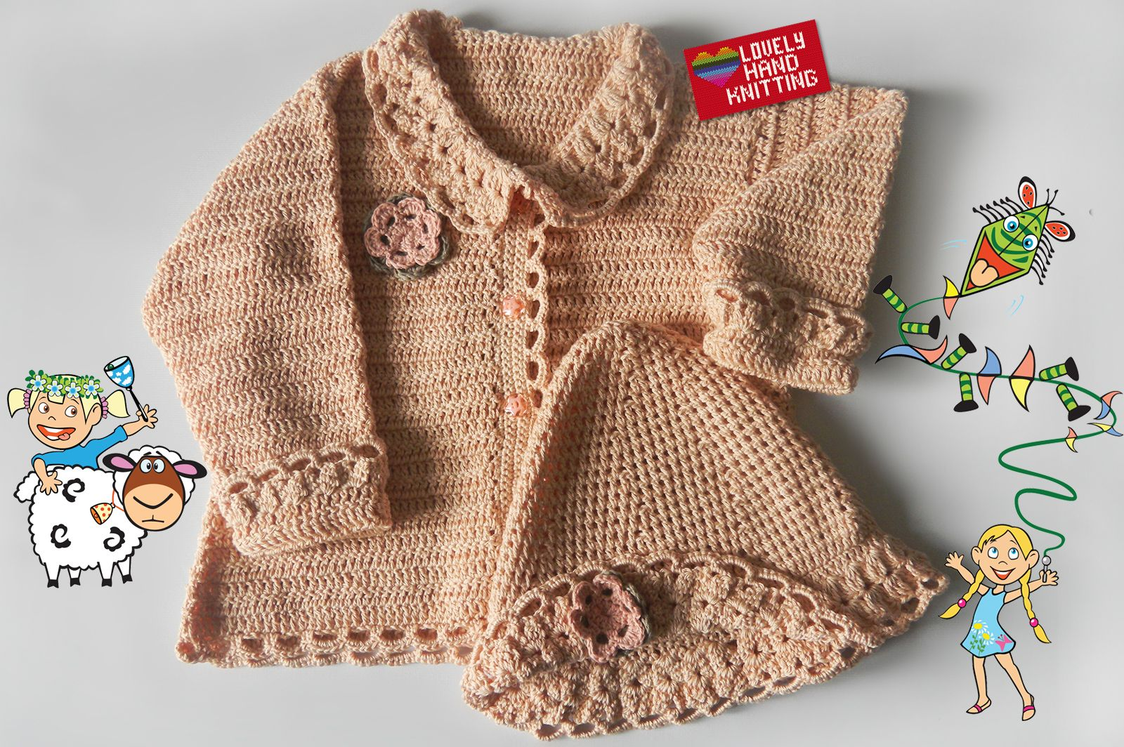 c2b2d83dcb9d Baby sweater crochet cardigan and matching hat - adorable handmade ...
