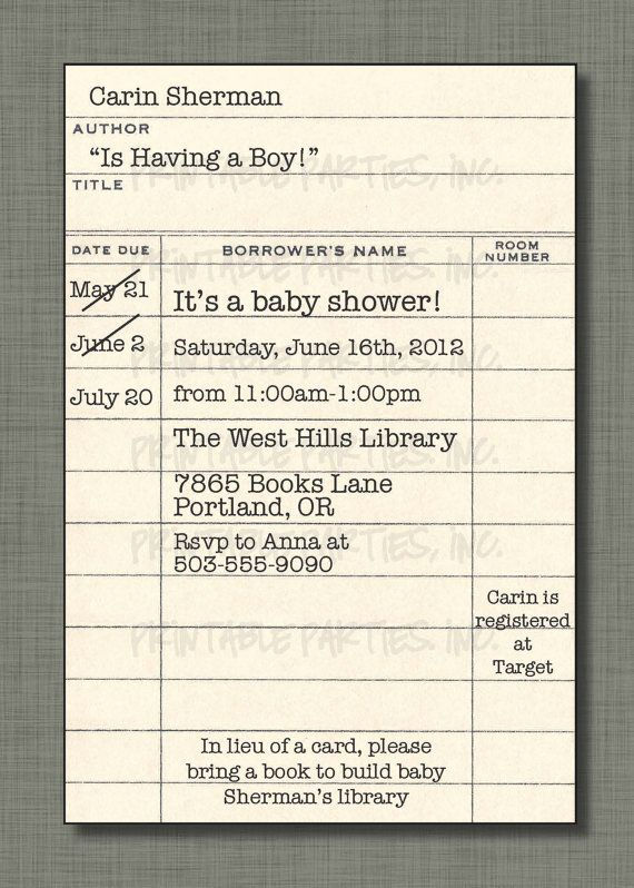 Library Card Invite For Book Themed Shower Library Etsy Invitation Template Invitation Cards Birthday Book