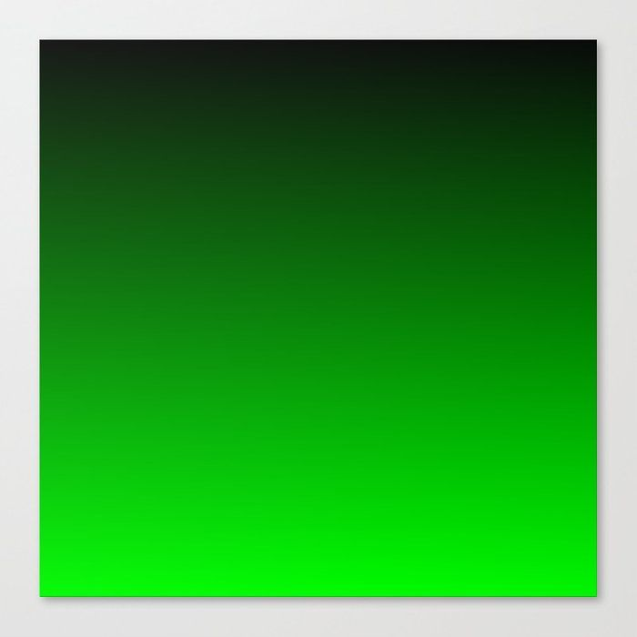 Black And Lime Gradient Canvas Print by Color Obsession - MEDIUM