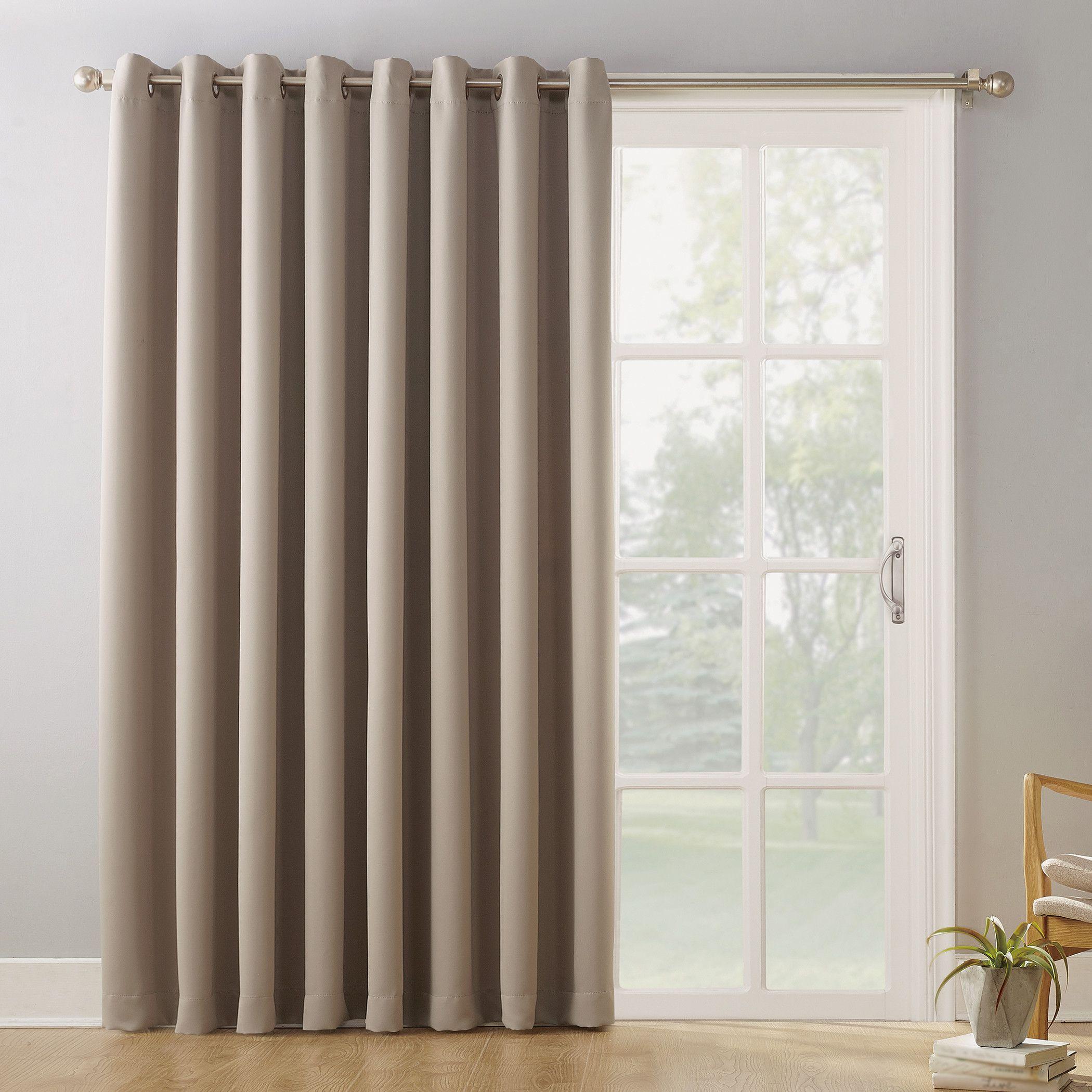 Sun Zero Conrad Extra Wide Blackout Sliding Patio Door Curtain Panel Walmart Com Door Coverings Sliding Door Curtains Sliding Door Blinds
