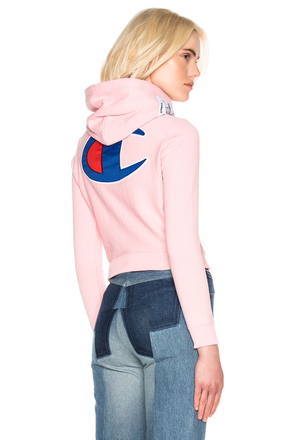 355ad6cee2dc Image 1 of VETEMENTS x Champion Fitted Hoodie in Pink