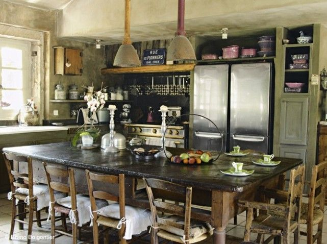 Cuisine campagne industriel kitchen pinterest for Meuble campagne chic