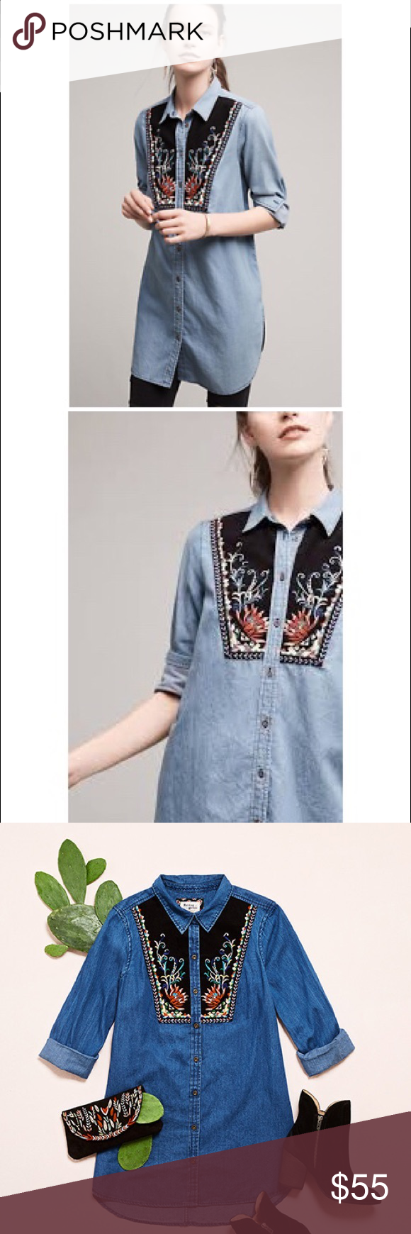 d875752bfc6 Anthropologie Holding Horses chambray Murelet Top Anthropologie Murelet  Chambray Tunic by Holding Horses Worn a few