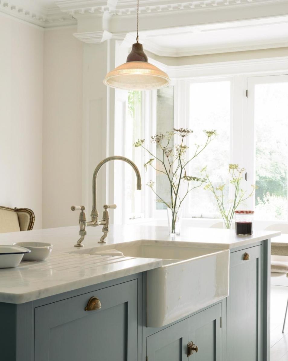 Kitchen Design Blue Cabinets Brass Hardware Farmhouse Sink Devol Kitchens Kitchen Renovation Modern Kitchen