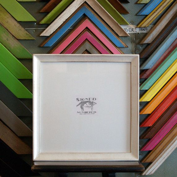 10x10 Square Picture Frame In Foxy Cove Style With Vintage White Finish Picture Frames Frame White Vintage