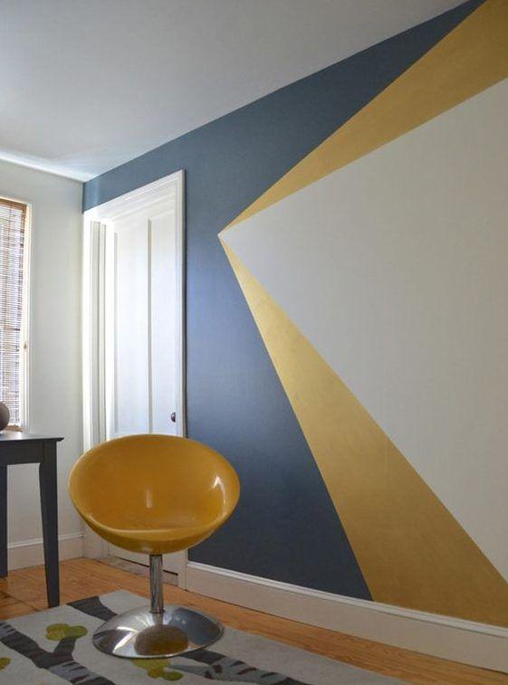 La geometr a lleg a la pintura pared geom trica - Paredes pintadas de dos colores ...