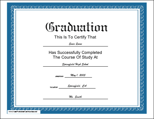 A sleek blue bordered diploma for a graduate of any course of study this formal classic look printable certificate serves as a diploma for a yadclub Images