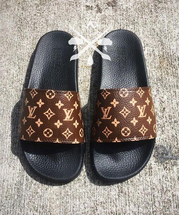 b80ef70bfc509 Louis Vuitton Luxury Designer LV Custom Slides Sandals Flip Flops ...