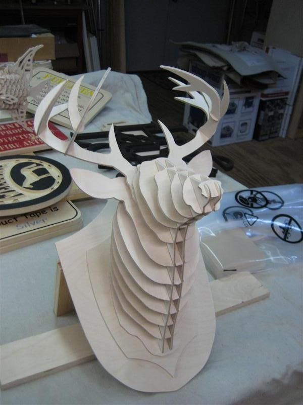 Deer Head 3D puzzle dxf File Free Download   CNC Projects