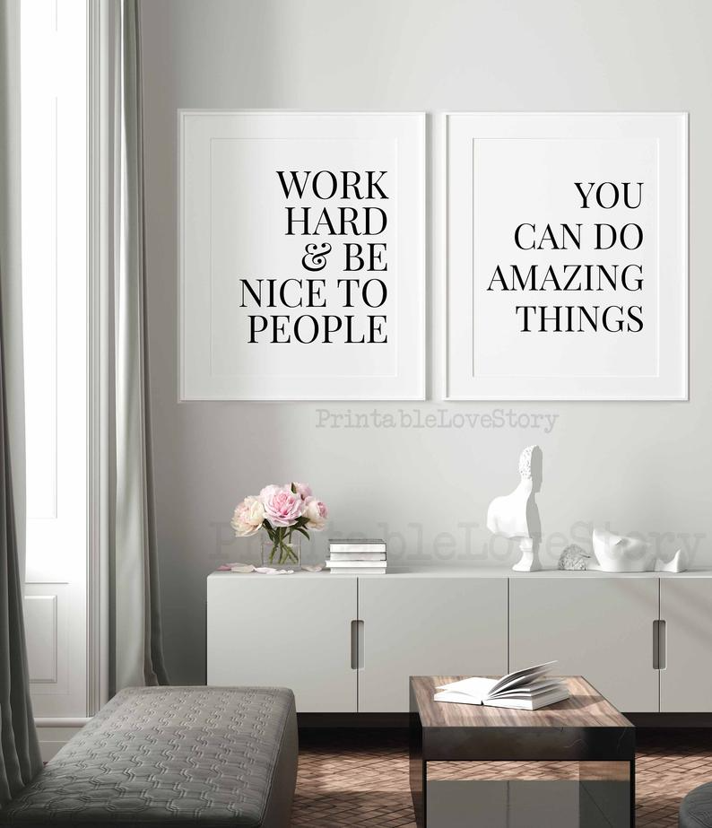 Office Wall Decorwork Hard And Be Nice To Peoplework Hard Etsy In 2020 Office Wall Decor Work Office Wall Decor Office Walls