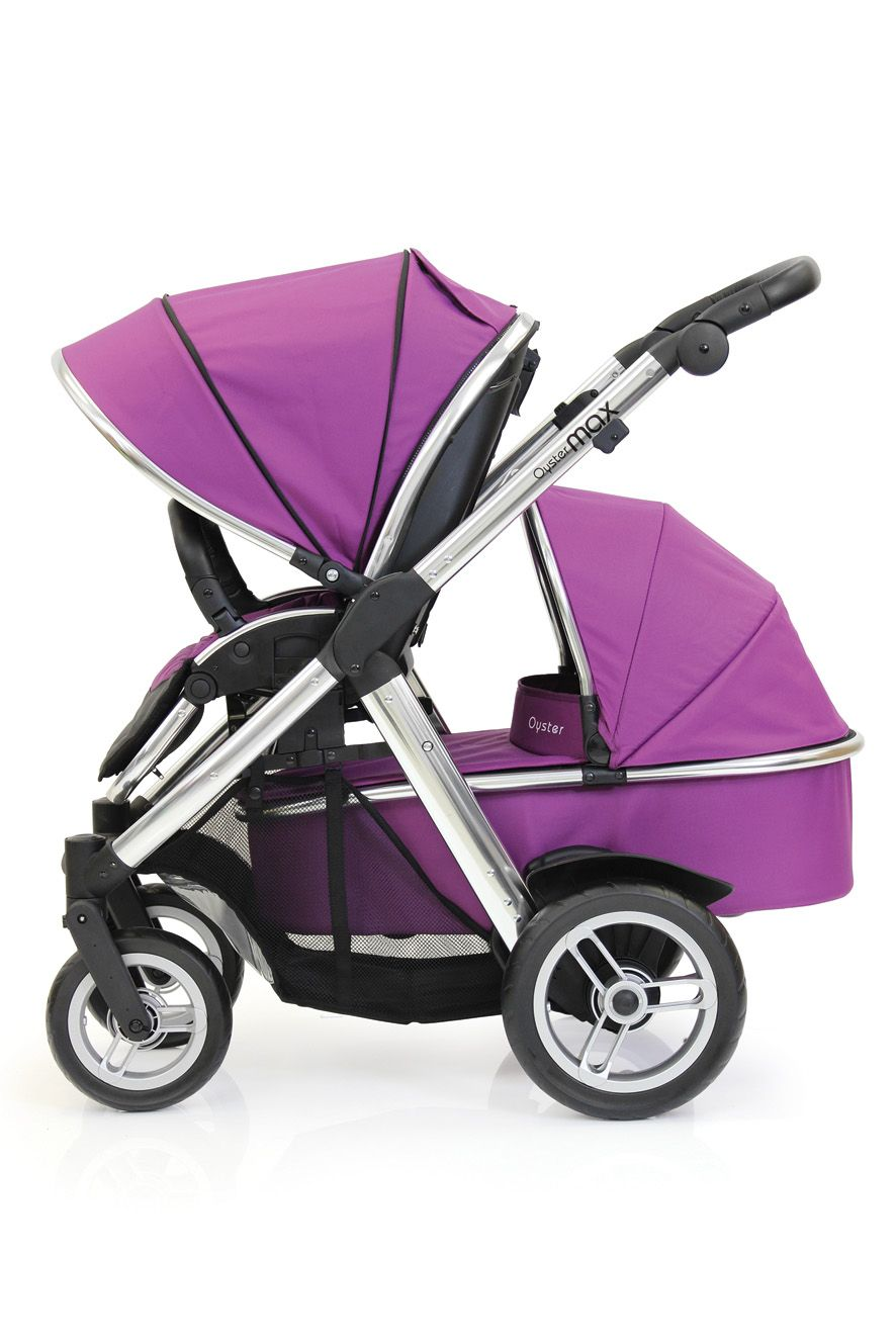 Oyster Double Pram Mothercare Oyster Max Tandem Stroller With Seat And Carry Cot In Grape
